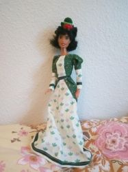 Green and white Victorian dress for Barbie doll by Blondbraid