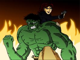 Hulk and Black Widow by mmcfacialhair