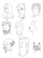 Tintin head sketches by JesIdres