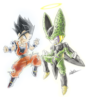 Gohan and Cell by Vichuis