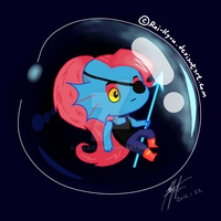Undyne in a Bubble by Calicco