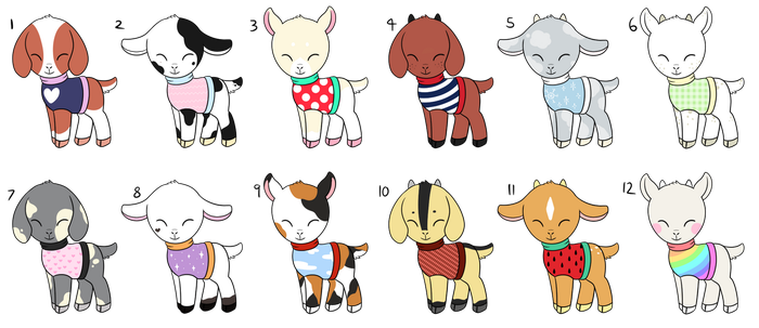 Adoptable sweater goats (CLOSED) by Tamatanium