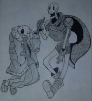 Outertale sans and papyrus by fellsansnp