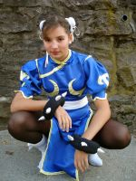 Chun Li Cosplay kneel by dollphinwing