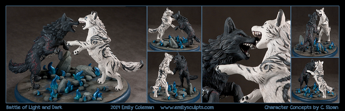 Commission : Battle of Light and Dark by emilySculpts
