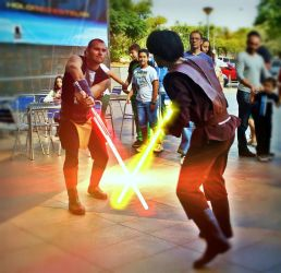 Lightsaber duel at JEHES X by Gardek