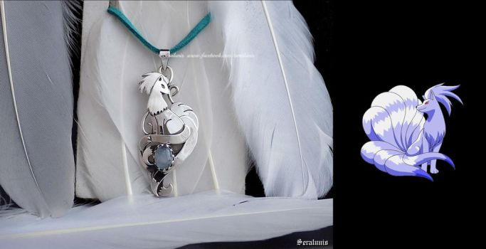 'Shiny Ninetales' sterling silver pendant by seralune