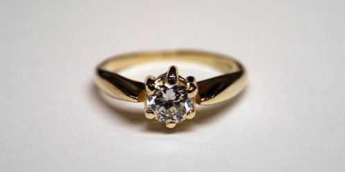 Gold ring with cubic zirconia by LARvonCL