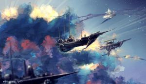SkyShip Dusk by SeerLight