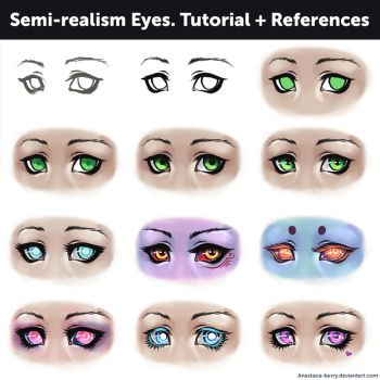 Semi-realism Eyes. Tutorial + References by Anastasia-berry