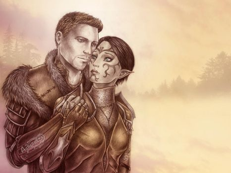 Dragon Age King Alistair and Merrill commission by Agregor