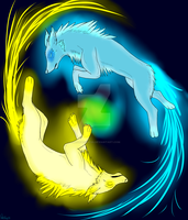 Wolves of light, Indi and Lumi by DireDragoness