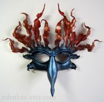 Fire and Water leather bird mask by shmeeden