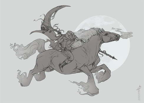 Dullahan Sketch Commission by SunDier