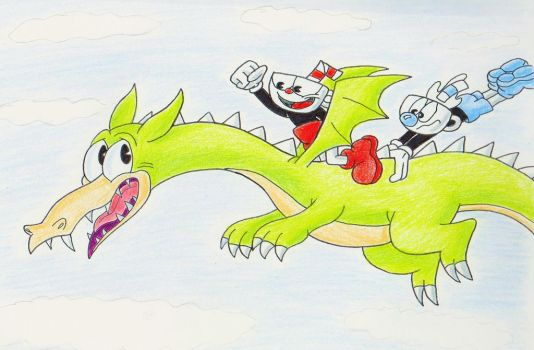 Cuphead And Mugman Go For A Dragon Ride by IrishBecky