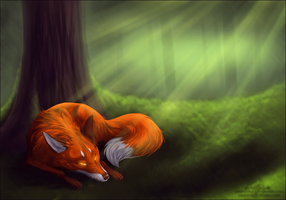 Hiding in the woods~ by frostfoxie