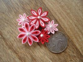 Pink + Red SD Kanzashi by thedrunkenprincess