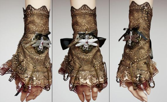Dragonfly pinned cuff or jabot by Pinkabsinthe