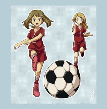 Commission - May and Serena playing soccer by Velkia