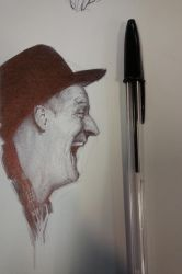 Pen Drawing off of Rockwell's photo reference by FUNKYMONKEY1945