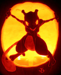 Mewtwo - The Strongest Pumpkin by johwee