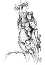 Tiefling in scale mail armor by phix701