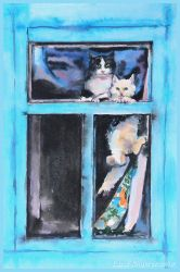 Cats in the window by LORETANA