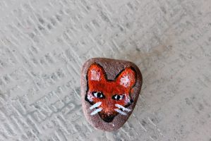 Foxy Painted Rock by wingedmusician