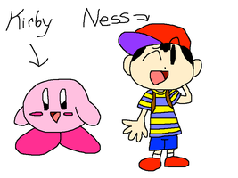Kirby and Ness by PokeGirlRULES