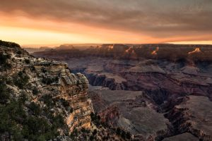A Smoky Sunset at Mather Point, Grand Canyon by ryangallagherart