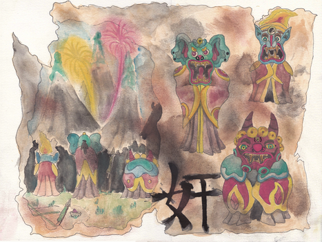 The Ancient Scroll of Chinese Demon New Year by hananas59
