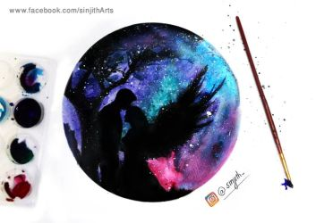Galaxy love - watercolour painting by sinjith