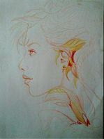 2013 drawing - wip of nature lady :) by nielopena