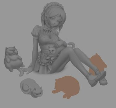 Cat Maidy WIP - 2 by sererena