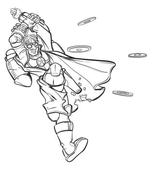 Steampunk Superhero lineart by Bluesrat