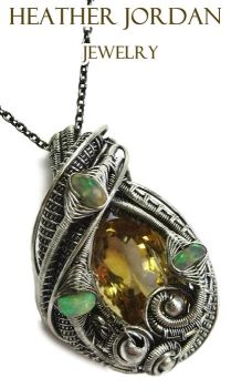 Citrine and Opal Wire-Wrapped Pendant in SterlingS by HeatherJordanJewelry