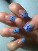 blue french manicure with flowers by bl00dflowerz