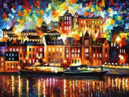 Stockholm by Leonid Afremov by Leonidafremov