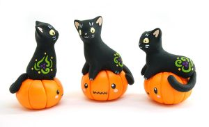 Black Kittens on Pumpkins by Ailinn-Lein