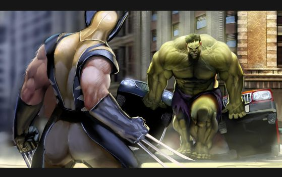 wolverine vs hulk by nebezial