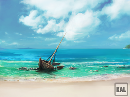 lonely boat by Kalberoos