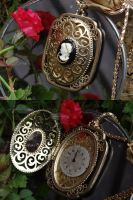 Steampunk cameo locket by Hiddendemon-666