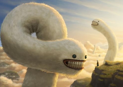 Fuzzy Cloud Worms by AndrewMcIntoshArt