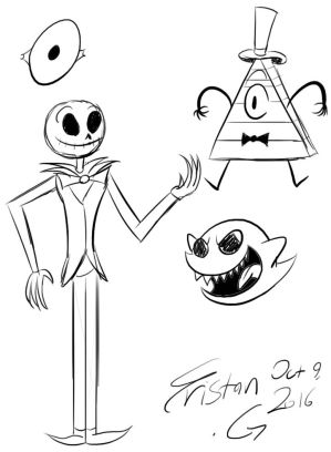 Jack, Bill Cipher, and a Boo Skecth by TrisNGar