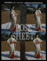 POSE SHEET 1 of 2: Geisha Flowers by themuseslibrary