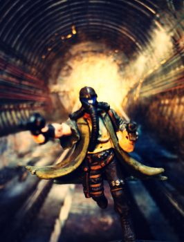 Mutant Chronicles figure and Metro 2034 cover by Nyrey