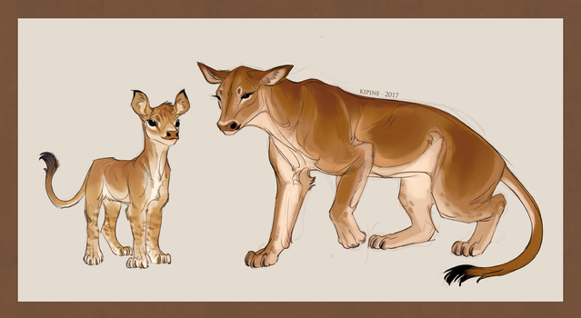 Cow and Calf Lion by Kipine