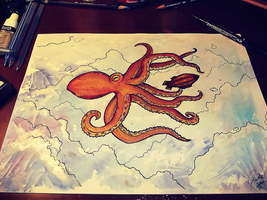 Giants of the Sky - Watercolor practice no.1 by PrivateCoppery