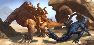 Earth Dragon verus Deathstalker by Davesrightmind