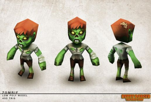 Low Poly 3D Zombie by red--fox